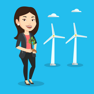 Young caucasian female worker of wind farm. Woman holding in hands green small plant in soil on the background of wind turbines. Green energy concept. Vector flat design illustration. Square layout.