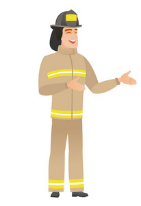 Young caucasian firefighter gesturing. Full length of cheerful firefighter gesturing with his hands. Firefighter laughing and gesturing. Vector flat design illustration isolated on white background.