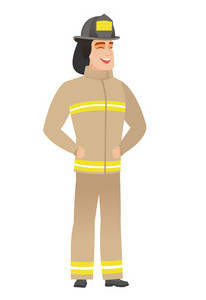 Young caucasian firefighter laughing. Firefighter laughing with hands on his stomach. Firefighter laughing with closed eyes and open mouth. Vector flat design illustration isolated on white background