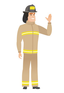 Young caucasian firefighter waving his hand. Full length of firefighter waving hand. Firefighter making greeting gesture - waving hand. Vector flat design illustration isolated on white background.