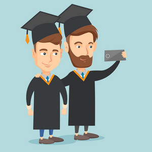 Young caucasian graduates making selfie. Cheerful graduates in cloaks and graduation caps making selfie. Happy graduates making selfie with cellphone. Vector flat design illustration. Square layout.