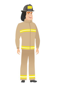 Young caucasian happy firefighter in uniform. Full length of smiling happy firefighter posing. Illustration of happy firefighter standing. Vector flat design illustration isolated on white background.