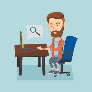 Young caucasian hipster business man working on his laptop in office and searching information on internet. Internet search and job search concept. Vector flat design illustration. Square layout.