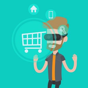 Young caucasian hipster man with beard wearing virtual reality headset and looking at shopping cart icon. Virtual reality, shopping online concept. Vector flat design illustration. Square layout.