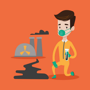 Young caucasian laboratory assistant in protective chemical suit holding a test-tube with black liquid on the background of nuclear power plant. Vector flat design illustration. Square layout.