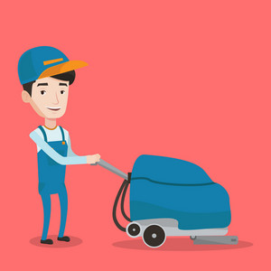 Young caucasian male cleaner with cleaning equipment. Male worker cleaning store floor with cleaning machine. Worker of cleaning services in supermarket. Vector flat design illustration. Square layout
