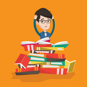 Young caucasian male student sitting in huge pile of books. Exhausted student clutching his head. Stressed student reading books. Concept of education. Vector flat design illustration. Square layout.