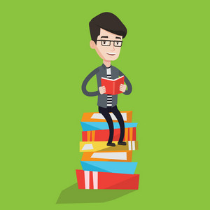 Young caucasian male student sitting on huge pile of books. Happy student reading book. Smiling man sitting on stack of books with book in hands. Vector flat design illustration. Square layout.