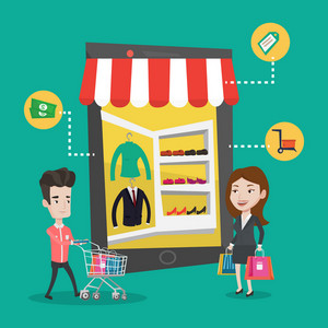 Young caucasian man and woman doing online shopping. Man and woman using mobile shopping. People walking in store that looks like tablet computer. Vector flat design illustration. Square layout.