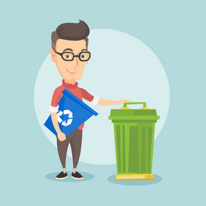 Young caucasian man carrying recycling bin. Smiling man holding recycling bin while standing near a trash can. Waste recycling concept. Vector flat design illustration. Square layout.