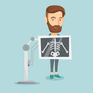 Young caucasian man during chest x ray procedure. Smiling man with x ray screen showing his skeleton. Hipster male patient visiting roentgenologist. Vector flat design illustration. Square layout.