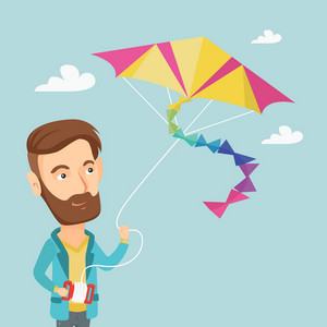 Young caucasian man flying a colourful kite. Hipster man with beard controlling a kite. Happy man walking with kite. Cheerful man playing with kite. Vector flat design illustration. Square layout.