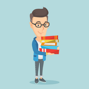 Young caucasian man holding a pile of educational books in hands. Smiling student carrying huge stack of books. Student preparing for exam with books. Vector flat design illustration. Square layout.