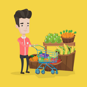 Young caucasian man pushing a supermarket cart with some vegetables in it. Customer shopping at supermarket with cart. Man buying fresh healthy food. Vector flat design illustration. Square layout.