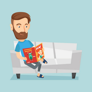 Young caucasian man reading a magazine. Relaxed man sitting on sofa and reading magazine. Smiling man sitting on the couch with magazine in hands. Vector flat design illustration. Square layout.