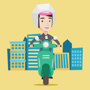 Young caucasian man riding a scooter on a city background. Young man in helmet driving a scooter in the city street. Smiling man driving a scooter. Vector flat design illustration. Square layout.