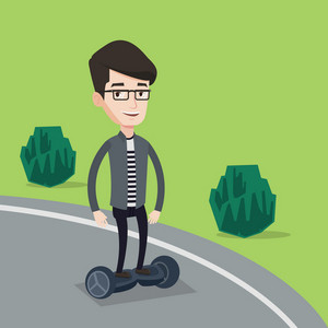 Young caucasian man riding on self-balancing electric scooter in the park. Cheerful man riding on gyroscooter outdoor. Joyful man standing on gyroboard. Vector flat design illustration. Square layout