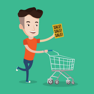 Young caucasian man running on big sale. Man holding paper sheet with sale text. Man with empty shopping trolley running in hurry to the store on sale. Vector flat design illustration. Square layout.