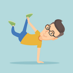 Young caucasian man showing his skills in break dance. Happy breakdance dancer doing handstand. Young smiling man dancing. Strong man breakdancing. Vector flat design illustration. Square layout.