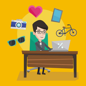 Young caucasian man sitting in front of laptop and some images of goods flying around him. Happy man doing online shopping. Man buying on internet. Vector flat design illustration. Square layout.