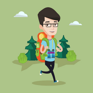 Young caucasian man with backpack and binoculars walking outdoor. Cheerful man hiking in the forest during summer trip. Backpacker traveling in nature. Vector flat design illustration. Square layout.