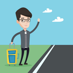 Young caucasian man with suitcase hitchhiking on roadside. Hitchhiking man trying to stop a car on a highway. Man catching taxi car by waving hand. Vector flat design illustration. Square layout.