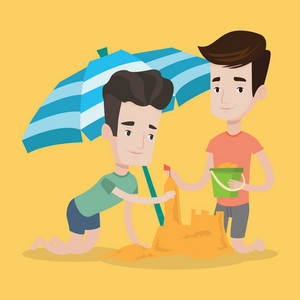 Young caucasian men making sand castle on the beach under beach umbrella. Smiling friends building sandcastle. Tourism and beach holiday concept. Vector flat design illustration. Square layout.