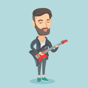 Young caucasian musician playing electric guitar. Man practicing in playing guitar. Hipster guitarist with his eyes closed playing music on guitar. Vector flat design illustration. Square layout.