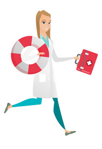 Young caucasian paramedic holding first aid box and lifebuoy. Smiling female paramedic standing with first aid box and lifebuoy in hands. Vector flat design illustration isolated on white background.