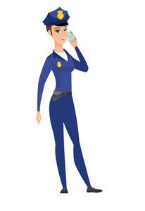 Young caucasian policewoman talking on a mobile phone. Full length of policewoman talking on cell phone. Policewoman using cell phone. Vector flat design illustration isolated on white background.
