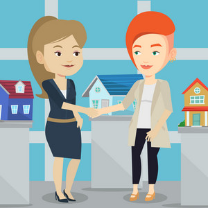 Young caucasian realtor shaking hand to female customer after real estate deal in office. Conclusion of real estate deal between realtor and buyer. Vector flat design illustration. Square layout.