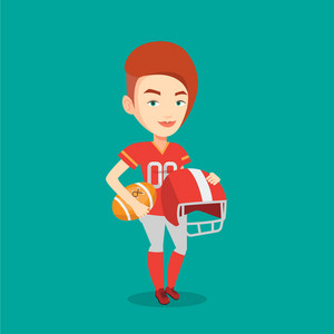 Young caucasian rugby player holding ball and helmet in hands. Young smiling female rugby player in uniform. Vector flat design illustration. Square layout.