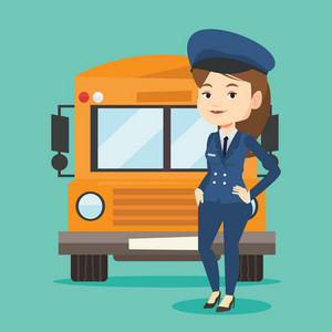 Young caucasian school driver standing in front of yellow bus. Smiling female school bus driver in uniform. Cheerful female school bus driver. Vector flat design illustration. Square layout.