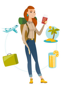 Young caucasian smiling woman traveler holding passport with ticket on airplane. Woman traveler holding passport and ticket on holiday. Vector flat design illustration isolated on white background.