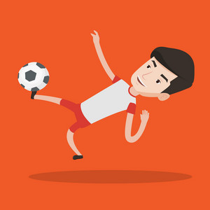 Young caucasian soccer player kicking ball during game. Happy male soccer player juggling with a ball. Football player playing with soccer ball. Vector flat design illustration. Square layout.
