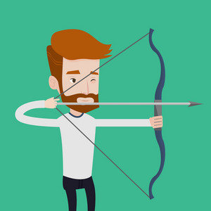 Young caucasian sportsman practicing in archery. A hipster man with the beard training with the bow. Archery player aiming with a bow in hands. Vector flat design illustration. Square layout.