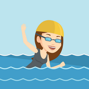 Young caucasian sportswoman in cap and glasses swimming in pool. Professional female swimmer in swimming pool. Woman swimming forward crawl style. Vector flat design illustration. Square layout.