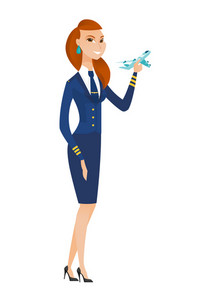 Young caucasian stewardess holding a model of airplane in hand. Full length of stewardess in uniform. Stewardess with model of airplane. Vector flat design illustration isolated on white background.