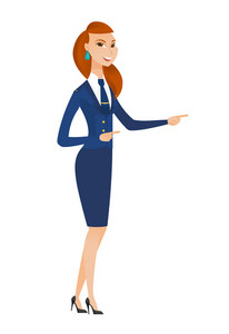 Young caucasian stewardess pointing to the side. Stewardess pointing her finger to the side. Smiling stewardess pointing to the right side. Vector flat design illustration isolated on white background