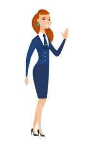 Young caucasian stewardess waving hand. Full length of female stewardess waving her hand. Stewardess making greeting gesture - waving hand. Vector flat design illustration isolated on white background