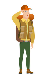 Young caucasian traveler laughing. Traveler laughing with hands on his head. Traveler laughing and touching his head. Vector flat design illustration isolated on white background.