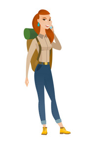 Young caucasian traveler talking on a mobile phone. Full length of smiling traveler talking on cell phone. Happy traveler using cell phone. Vector flat design illustration isolated on white background