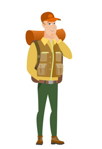 Young caucasian traveler thinking. Full length of thinking traveler with hand on chin. Traveler thinking and looking to the side. Vector flat design illustration isolated on white background.