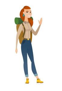 Young caucasian traveler waving her hand. Full length of happy traveler waving her hand. Traveler making greeting gesture - waving hand. Vector flat design illustration isolated on white background.