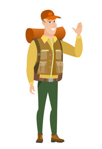 Young caucasian traveler waving his hand. Full length of happy traveler waving his hand. Traveler making greeting gesture - waving hand. Vector flat design illustration isolated on white background