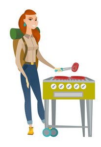 Young caucasian traveler woman cooking steak on barbecue grill. Full body portrait of traveler woman with backpack having barbecue party. Vector flat design illustration isolated on white background.