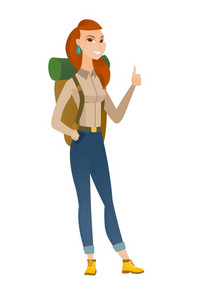 Young caucasian traveler woman giving thumb up. Full length of smiling traveler woman with thumb up. Cheerful traveler showing thumb up. Vector flat design illustration isolated on white background.
