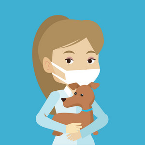 Young caucasian veterinarian holding dog. Female veterinarian in medical mask carrying a dog. Female veterinarian examining dog. Pet care concept. Vector flat design illustration. Square layout.