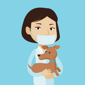 Young caucasian veterinarian holding dog. Female veterinarian in medical mask carrying a puppy. Veterinarian examining dog. Vector flat design illustration isolated on blue background. Square layout.