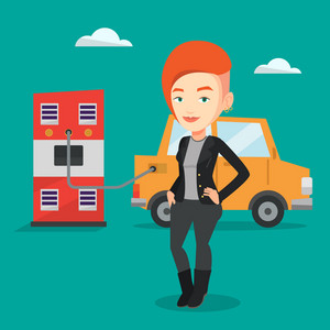 Young caucasian woman charging electric car at charging station. Woman standing near power supply for electric car. Charging of electric car. Vector flat design illustration. Square layout.